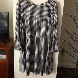 Black & White Gingham Tiered  Dress Large New